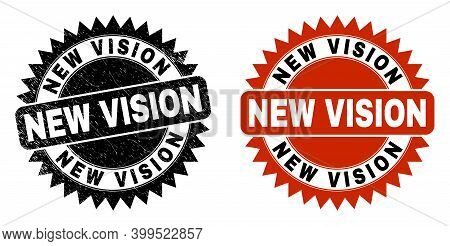 Black Rosette New Vision Seal Stamp. Flat Vector Textured Seal Stamp With New Vision Phrase Inside S
