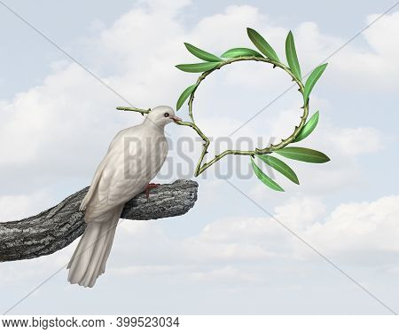 Peace Talks Concept With A Dove Holding An Olive Branch Shaped As A Speech Balloon  As A Symbol Of G