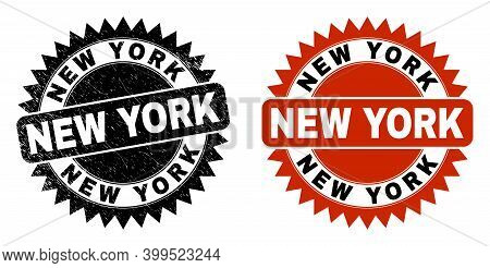 Black Rosette New York Seal. Flat Vector Distress Seal With New York Text Inside Sharp Rosette, And
