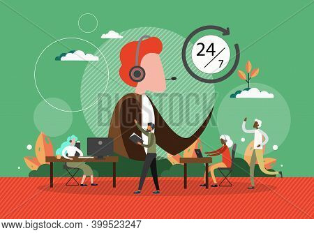 Call Center Concept Vector Illustration. Customer Service People At Work In Office. Helpdesk And Sup