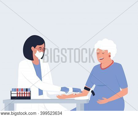Close-up Of The Illustrations Where A Nurse Takes Blood From A Vein For Analysis From An Elderly Wom