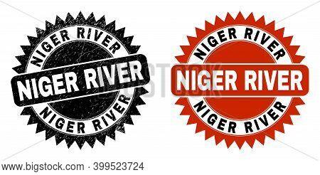 Black Rosette Niger River Seal Stamp. Flat Vector Textured Seal With Niger River Message Inside Shar