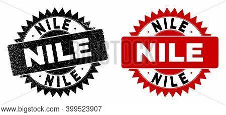 Black Rosette Nile Watermark. Flat Vector Grunge Watermark With Nile Caption Inside Sharp Rosette, A