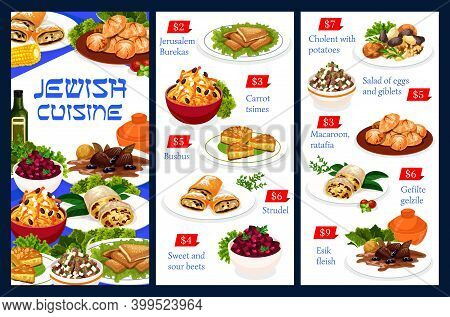 Jewish Food Vector Jerusalem Burekas, Carrot Tsimes, Busbus And Strudel. Sweet And Sour Beets, Chole