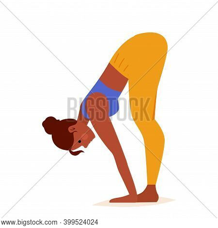 Young Woman Practicing Yoga. Standing Half Forward Fold Pose. Woman Workout Fitness, Aerobic And Exe