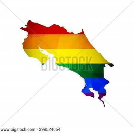 Vector Isolated Concept With Low Poly Style Map Of Costa Rica And Lgbt Rainbow Flag. Equal Rights Of