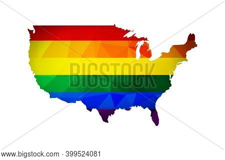 Vector Flat Concept With United States Of America (usa) Map In Polygonal Style. Atlas Is Colored In