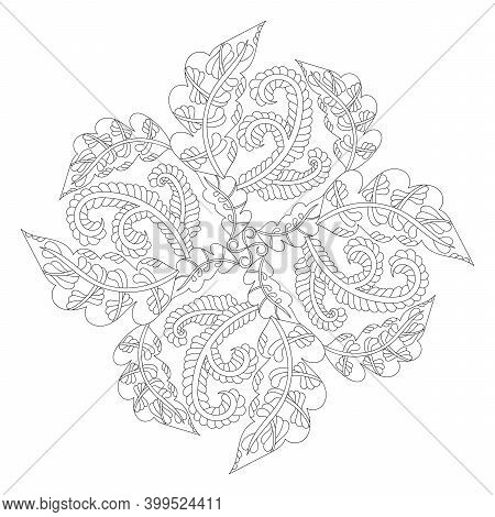 Coloring Book Page Mandala. Doodle Linear Art. Anti Stress For Adults And Children For Relaxing. Han