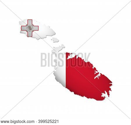 Vector Isolated Illustration With Malta National Flag With Shape Of Maltese Map (simplified). Volume