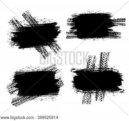 Tire Prints Black Spots, Car Tyre Tracks, Grunge Dirty Vector Marks. Offroad Vehicle Wheels Trace Wi