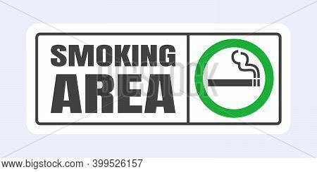 Smoking Area Sign. Green Circle Cigarette Icon Sign Isolated On Light Gray Background Vector Illustr