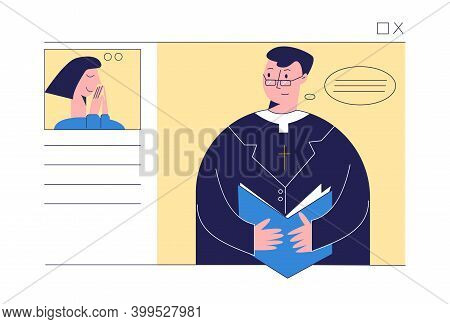 Pastor With Bible Conducts Church Services Online. Church And Liturgy Online Concept. Woman Praying