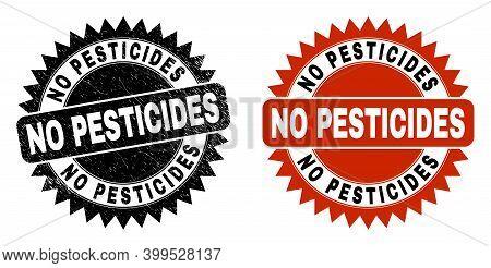 Black Rosette No Pesticides Seal. Flat Vector Distress Watermark With No Pesticides Caption Inside S