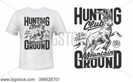 Mountain Sheep Hunt T-shirt Print Mockup, Emblem For Hunting Club, Vector Wild Animal. Mountain Shee