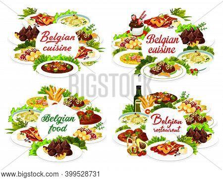 Belgian Food Cuisine, Menu Dishes And Belgium Meals Vector Restaurant Lunch And Dinner. Belgian Trad