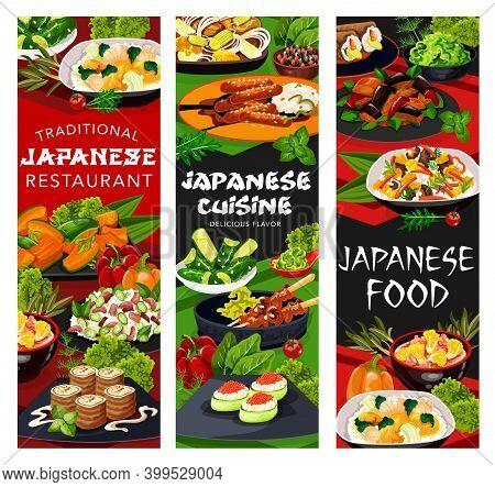 Japanese Cuisine Restaurant Vector Banners With Asian Dishes Of Gunkan Sushi, Meat Teriyaki And Yaki