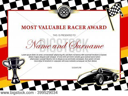 Car Racing Winner Certificate Or Diploma Award To Racer, Vector Template With Finish Flag Frame. Ral