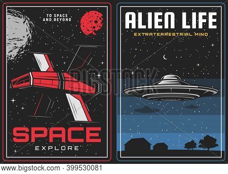 Outer Space Exploration, Alien Life Visit Banners. Future Spaceship Among Stars, Sci-fi Spacecraft E