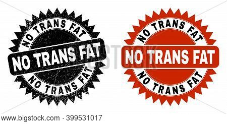 Black Rosette No Trans Fat Seal Stamp. Flat Vector Grunge Seal With No Trans Fat Message Inside Shar
