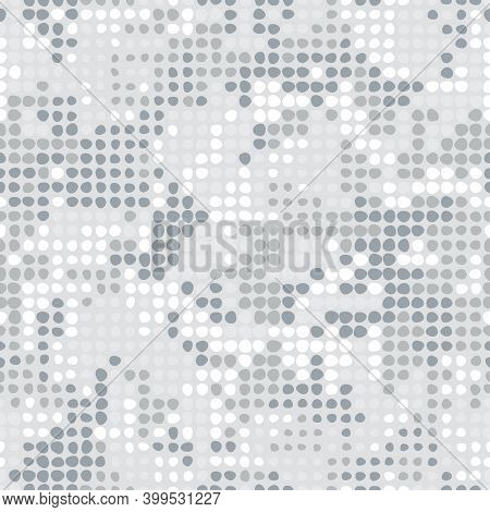 Digital White Monochrome Background. Seamless Halftone Dots Camouflage Pattern For Your Design. Vect
