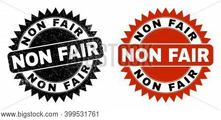 Black Rosette Non Fair Watermark. Flat Vector Grunge Watermark With Non Fair Caption Inside Sharp Ro