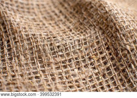 Part Of The Fabric Web. Fabric Made Of Burlap. Burlap Close-up