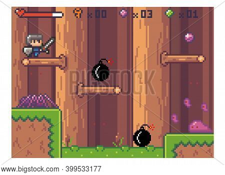 Pixel Art Style, Character In Game Arcade Play. Man With Sharp Sword Fighting Against Enemy Soldier