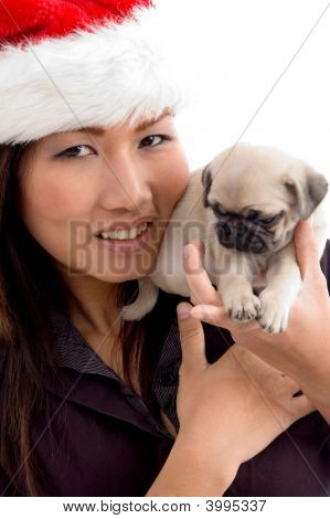 woman with cute puppy and Christmas hat with white background poster