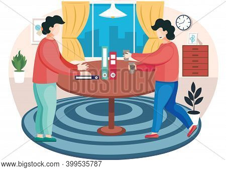 Young Guys Communicate In The Apartment And Spend Time Together. Pastime With Friends. Man Carries C