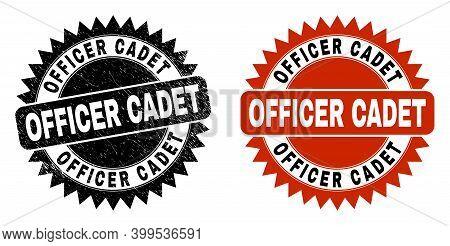Black Rosette Officer Cadet Stamp. Flat Vector Distress Seal Stamp With Officer Cadet Phrase Inside
