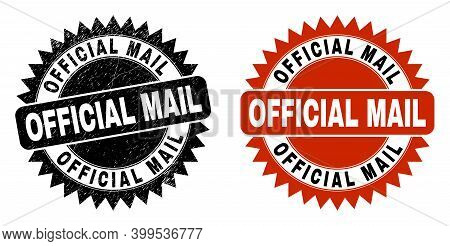 Black Rosette Official Mail Seal Stamp. Flat Vector Scratched Seal Stamp With Official Mail Title In