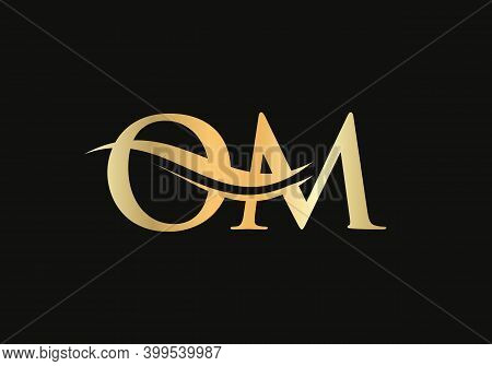 Om Logo Design. Creative And Minimalist Letter O M Logo Design With Water Wave Concept.