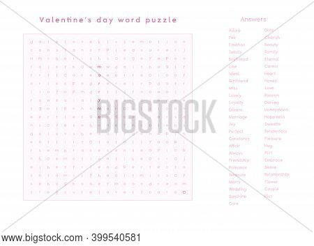 Valentines Day Word Puzzle Crossword - Find The Listed Words About Love In The Brain Work Puzzle. At