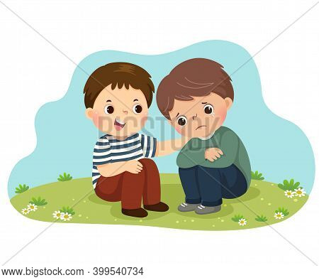 Vector Illustration Cartoon Of Little Boy Consoling His Crying Friend.