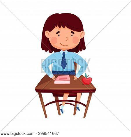 Clever Girl Sitting At Desk At School Lesson Vector Illustration