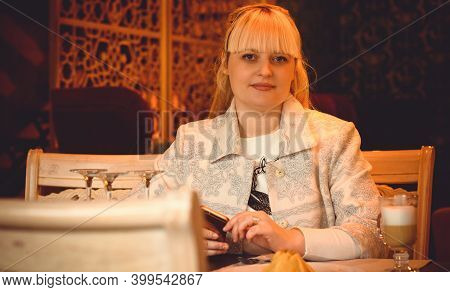 Business Middle Age Woman Working And Sit In Cafe. Women Xl Size Or Plus Size, Worker Woman In City
