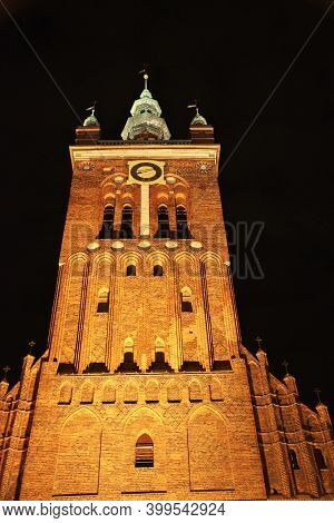 Gdansk, Poland - 17 Sep 2015: The Vintage Church In Gdansk In Northern Poland At Night