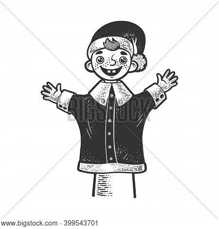 Puppet Doll On Puppeteer Hand Sketch Engraving Vector Illustration. T-shirt Apparel Print Design. Sc