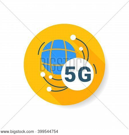 5g Connecting Flat Icon. Global 5th Generation Internet Connection Sign. Worldwide Telecommunication