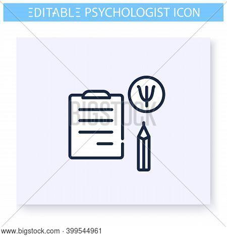 Psychologist Notes Line Icon. Questionnaire. Psychological Survey. Psychologic, Cognitive Problems T