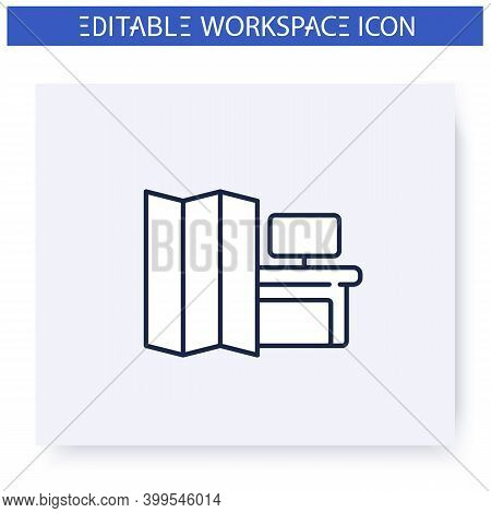 Portable Office Walls Line Icon. Workspace Optimization And Organization. Contemporary Workplace. Fu