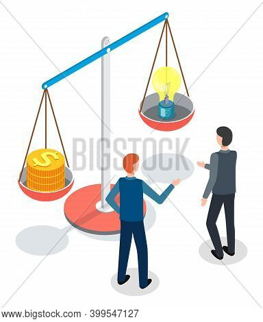 Men, Back View, Standing Near Huge Conceptual Scales, One Bowl With Dollar Coins And The Second Bowl