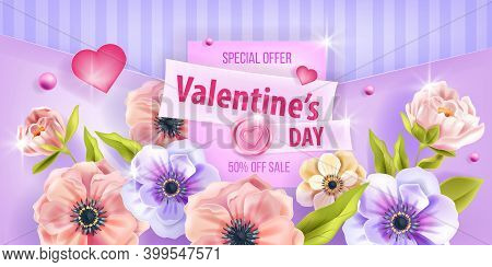 Valentine's Day Love Vector Background, Promo Sale Card With Peony, Hearts, Anemone Flowers. Holiday