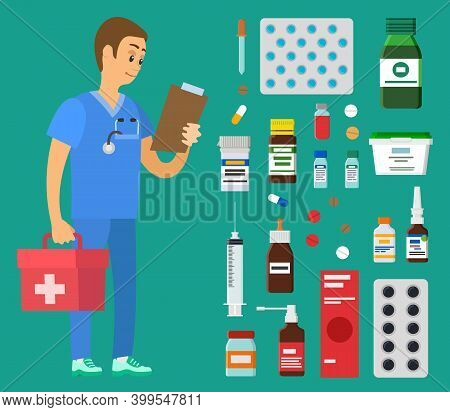 Medical Clinic Worker Holding Document And First Aid Kit. Emergency Doctor Examines Patient Card. Pa