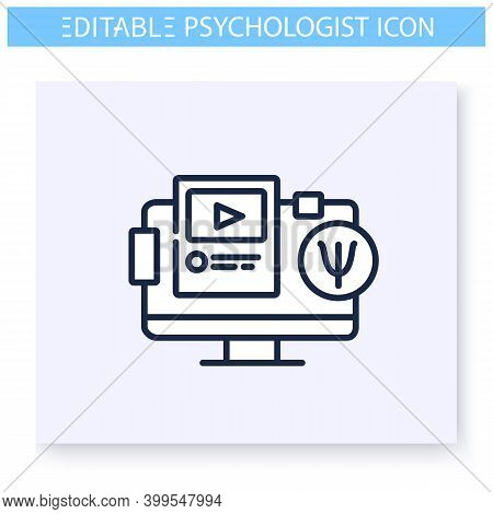 Psychology Blog Line Icon. Psychological Help Online. Psychological Thematic Content. Psychotherapy.