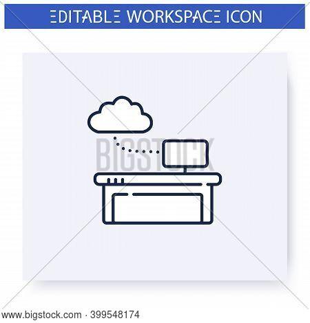 Work Data Cloud Storage Line Icon.database. Wokflow Optimisation.smart Emerging Technologies. Contem