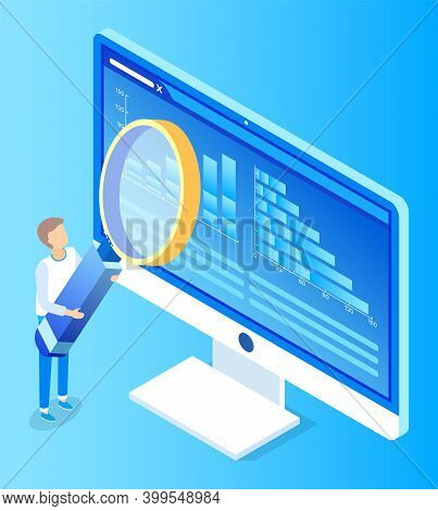 Digital Marketing Manager With Loupe Symbol Researching Computer Wireless Device. Communication Tech