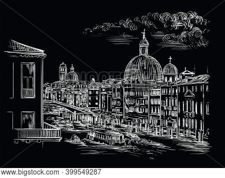 Venice Hand Drawing Vector Illustration Grand Canal Black
