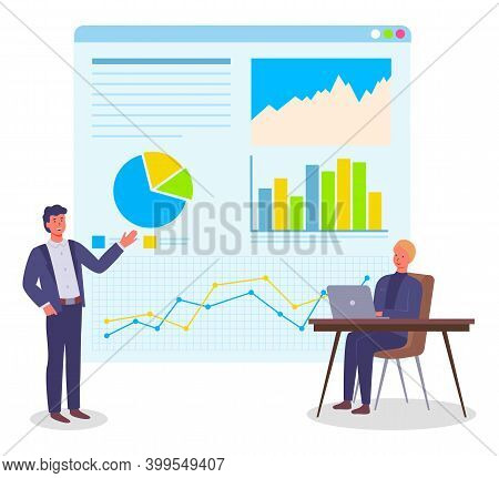 Analysing Project, Businesspeople, Office Workers Working At Plan, Colleagues Looking At Website And