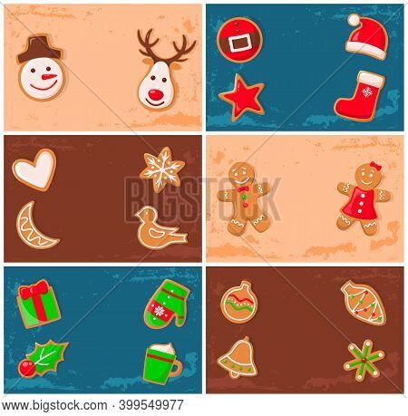 Holly Jolly Gingerbread Man Cookie Presents Set Vector. Bird And Heart, Santa Claus And Snowflake Re